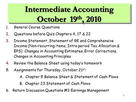 Intermediate Accounting October 19th, 2010