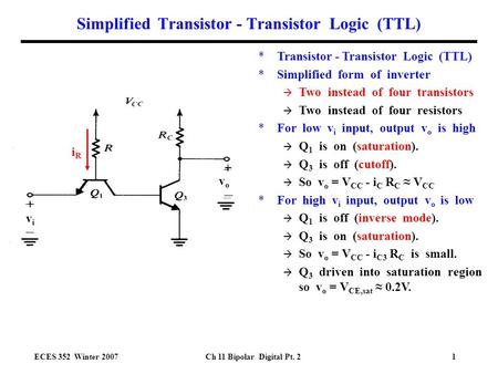 ECES 352 Winter 2007Ch 11 Bipolar Digital Pt. 21 Simplified Transistor - Transistor Logic (TTL) *Transistor - Transistor Logic (TTL) *Simplified form of.