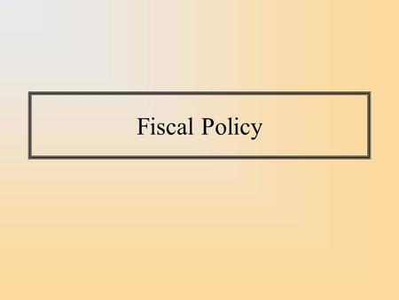 Fiscal Policy. The government directly controls its own expenditure and can thereby directly affect aggregate demand. The government controls the tax.