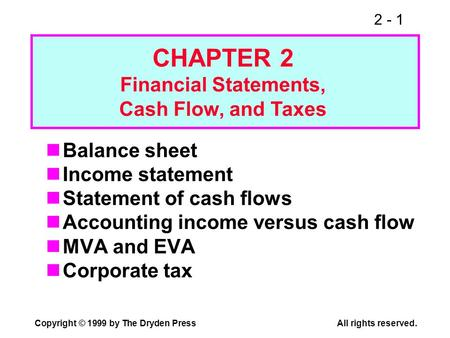 2 - 1 Copyright © 1999 by The Dryden PressAll rights reserved. Balance sheet Income statement Statement of cash flows Accounting income versus cash flow.