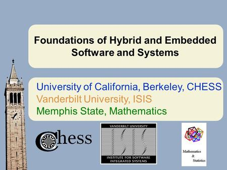 Foundations of Hybrid and Embedded Software and Systems University of California, Berkeley, CHESS Vanderbilt University, ISIS Memphis State, Mathematics.