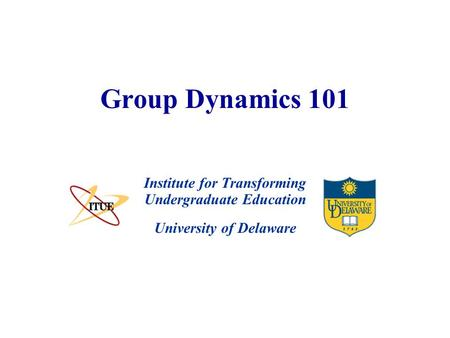 University of Delaware Group Dynamics 101 Institute for Transforming Undergraduate Education.