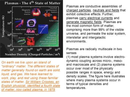 Plasmas are conductive assemblies of charged particles, neutrals and fields that exhibit collective effects. Further, plasmas carry electrical currents.