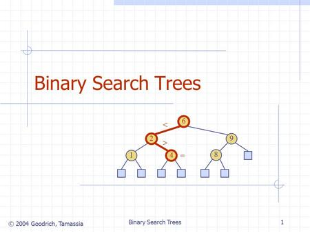 © 2004 Goodrich, Tamassia Binary Search Trees1 6 9 2 4 1 8   