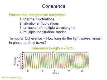 Coherence Factors that compromise coherence: 1. thermal fluctuations 2. vibrational fluctuations 3. emission of multiple wavelengths 4. multiple longitudinal.