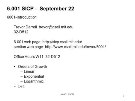 6.001 SICP – September Introduction