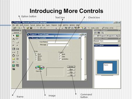 Introducing More Controls Text boxCheck box Option button Command button frame image.