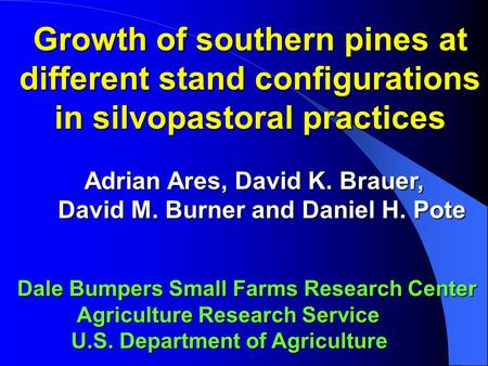 Growth of southern pines at different stand configurations in silvopastoral practices Adrian Ares, David K. Brauer, Adrian Ares, David K. Brauer, David.