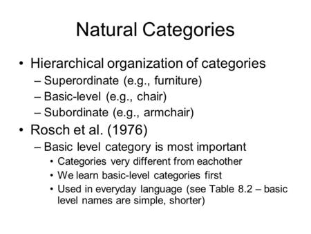 Natural Categories Hierarchical organization of categories –Superordinate (e.g., furniture) –Basic-level (e.g., chair) –Subordinate (e.g., armchair) Rosch.