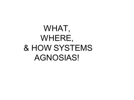 WHAT, WHERE, & HOW SYSTEMS AGNOSIAS!. What, Where, & How Systems.
