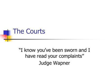 "The Courts ""I know you've been sworn and I have read your complaints"" Judge Wapner."