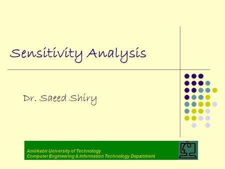 Sensitivity Analysis Dr. Saeed Shiry Amirkabir University of Technology Computer Engineering & Information Technology Department.