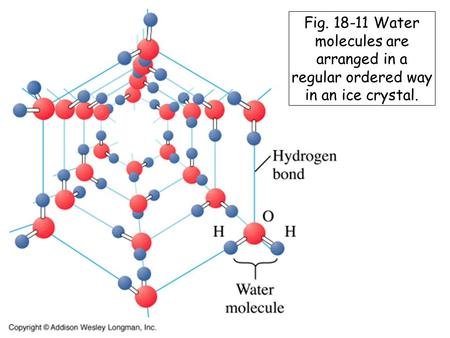 Fig. 18-11 Water molecules are arranged in a regular ordered way in an ice crystal.