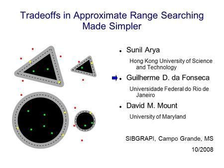 Tradeoffs in Approximate Range Searching Made Simpler Sunil Arya Hong Kong University of Science and Technology Guilherme D. da Fonseca Universidade Federal.