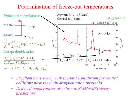 Determination of freeze-out temperatures Excellent consistency with thermal equilibrium for central collisions near the multi-fragmentation threshold Deduced.