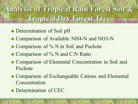 Analysis of Tropical Rain Forest Soil & Tropical Dry Forest Tree  Determination of Soil pH  Comparison of Available NH4-N and NO3-N  Comparison of %