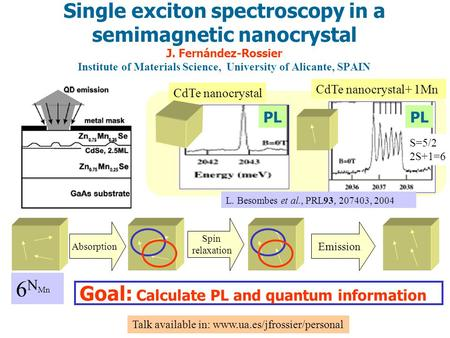 L. Besombes et al., PRL93, 207403, 2004 Single exciton spectroscopy in a semimagnetic nanocrystal J. Fernández-Rossier Institute of Materials Science,