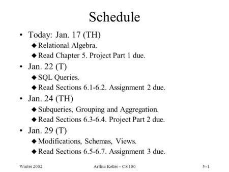 Winter 2002Arthur Keller – CS 1805–1 Schedule Today: Jan. 17 (TH) u Relational Algebra. u Read Chapter 5. Project Part 1 due. Jan. 22 (T) u SQL Queries.