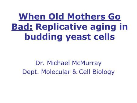 When Old Mothers Go Bad: Replicative aging in budding yeast cells