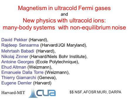 Magnetism in ultracold Fermi gases and New physics with ultracold ions: many-body systems with non-equilibrium noise $$ NSF, AFOSR MURI, DARPA Harvard-MIT.