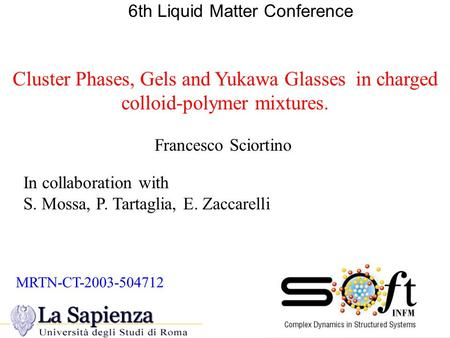 Cluster Phases, Gels and Yukawa Glasses in charged colloid-polymer mixtures. 6th Liquid Matter Conference In collaboration with S. Mossa, P. Tartaglia,