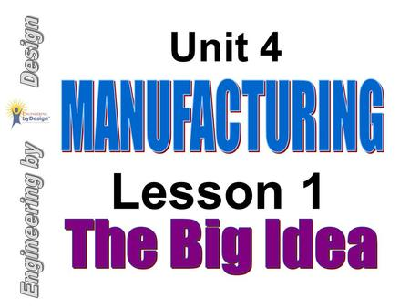 Unit 4 Lesson 1. 1. Analyze manufacturing processes, including designing, developing, producing, and servicing. 2. Describe mechanical processes that.