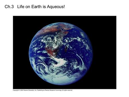 Ch.3 Life on Earth is Aqueous!. Predominance of Water -3/4 of earth covered with water (liquid & solid) -cells are 70-95% water -all organisms require.