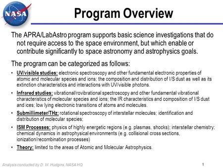 Analysis conducted by D. M. Hudgins, NASA HQ 1 Program Overview The APRA/LabAstro program supports basic science investigations that do not require access.