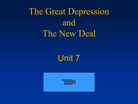 The Great Depression and The New Deal Unit 7. The Stock Market Crash Millions of dollars were invested in the stock market in the 20's, as stock value.