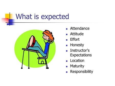 What is expected Attendance Attitude Effort Honesty Instructor's Expectations Location Maturity Responsibility.