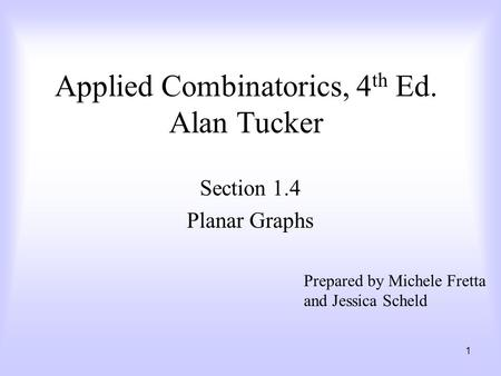 Applied Combinatorics, 4th Ed. Alan Tucker