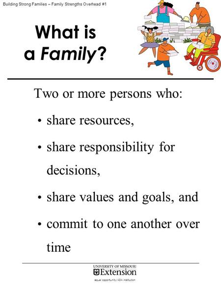 Equal opportunity/ADA institution What is a Family ? Two or more persons who: share resources, share responsibility for decisions, share values and goals,