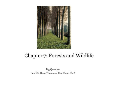 Chapter 7: Forests and Wildlife Big Question Can We Have Them and Use Them Too?