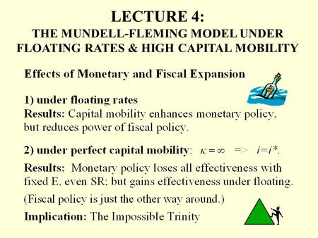 LECTURE 4: THE MUNDELL-FLEMING MODEL UNDER FLOATING RATES & HIGH CAPITAL MOBILITY.