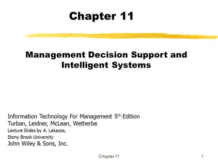 Management Decision Support and Intelligent Systems
