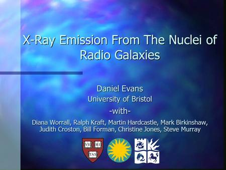 X-Ray Emission From The Nuclei of Radio Galaxies Daniel Evans University of Bristol -with- Diana Worrall, Ralph Kraft, Martin Hardcastle, Mark Birkinshaw,