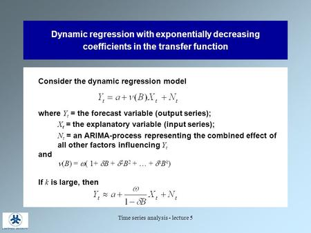 Time series analysis - lecture 5