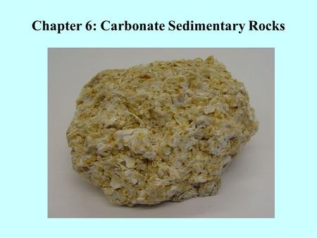 Chapter 6: Carbonate Sedimentary Rocks. There are two main categories of carbonate rocks: Calcite (CaCO 3 ) Dolomite (CaMg(CO 3 ) 2 ) Both Calcite and.