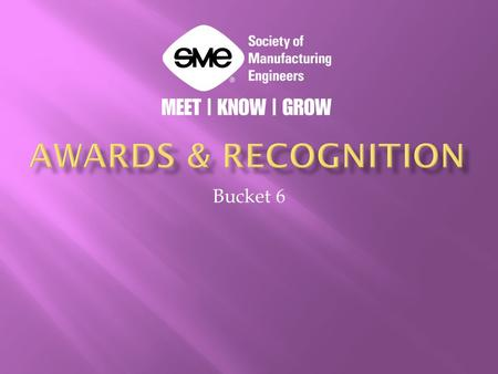 Bucket 6.  President's Award  Each year, several SME chapters select a member who has contributed more than any other during the previous year to support.
