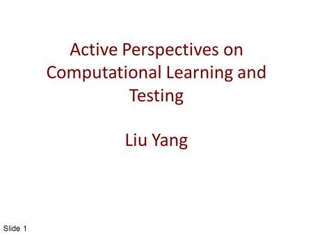 Active Perspectives on Computational Learning and Testing Liu Yang Slide 1.