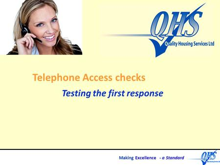 Making Excellence - a Standard Telephone Access checks Testing the first response.