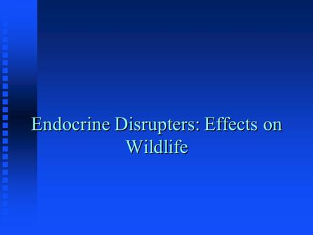Endocrine Disrupters: Effects on Wildlife. What Are Endocrine Disrupters? n The Endocrine System Regulates Numerous Biological Functions n The hormones.