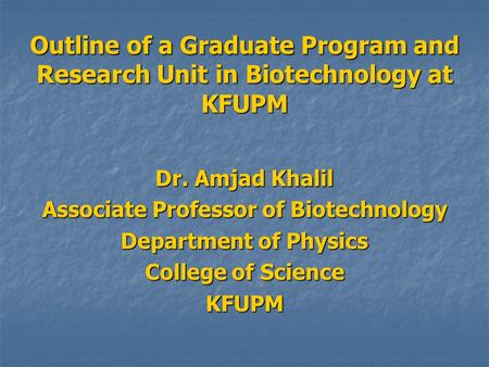 Associate Professor of Biotechnology