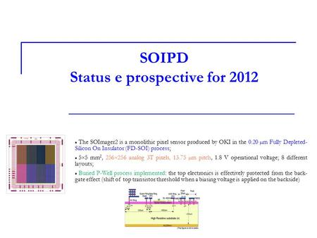 SOIPD Status e prospective for 2012 The SOImager2 is a monolithic pixel sensor produced by OKI in the 0.20 µm Fully Depleted- Silicon On Insulator (FD-SOI)