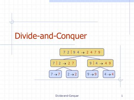 Divide-and-Conquer1 7 2  9 4  2 4 7 9 7  2  2 79  4  4 9 7  72  29  94  4.