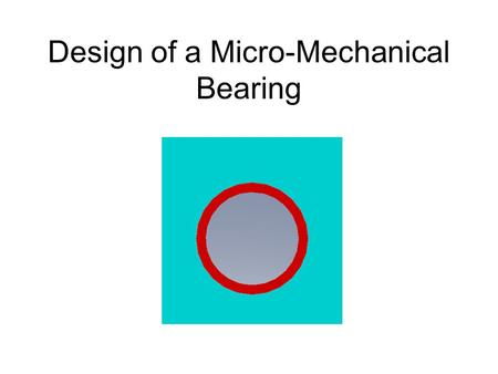 Design of a Micro-Mechanical Bearing. Solid Surfaces The shaft and bearing cage are constructed as an assembly by EFAB technology.15 Ra typical on horizontal.