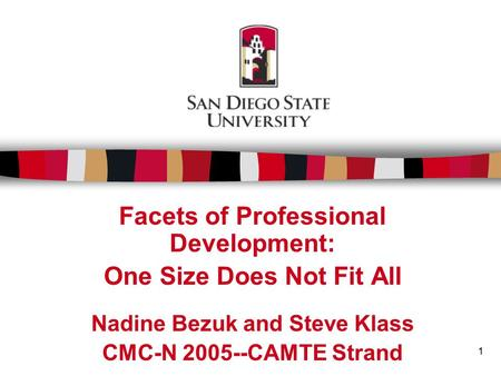 1 Facets of Professional Development: One Size Does Not Fit All Nadine Bezuk and Steve Klass CMC-N 2005--CAMTE Strand.