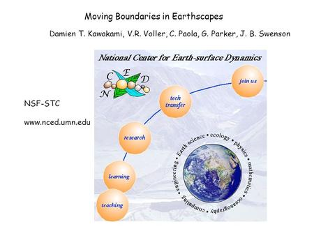 Moving Boundaries in Earthscapes Damien T. Kawakami, V.R. Voller, C. Paola, G. Parker, J. B. Swenson NSF-STC www.nced.umn.edu.