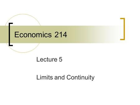 ECON 101: Introduction to Economics - I