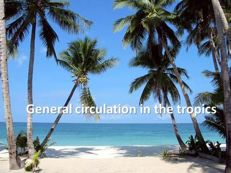 General circulation in the tropics. Outline: Global circulation and tropical regions Winds in low and high levels Hadley Cell and horizontal (trade winds)